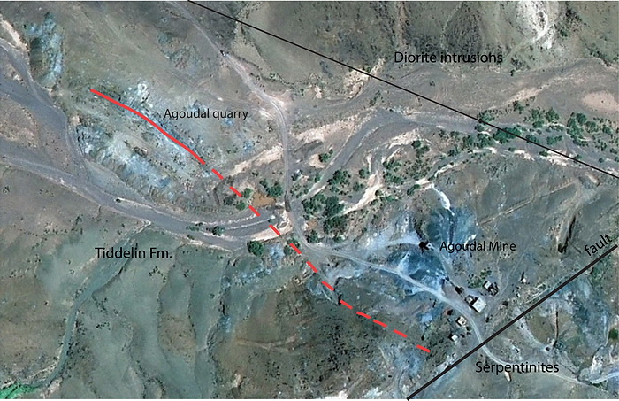Map of Agoudal mining area with general geology. Main vein is marked with red line.