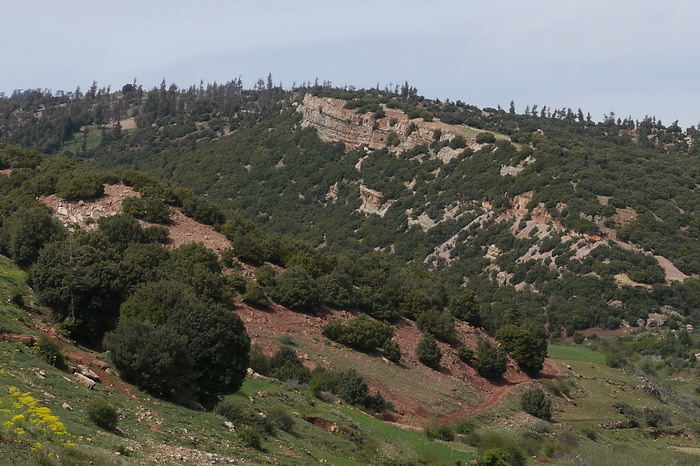 Hill with azurie/malachite workings in Kerrouchen